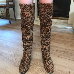 6b173bcf9eab Over the knee leopard boots by Jingpin